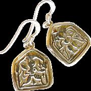SOLD Antique 18K Gold Vermeil Indian Pendant Drop Earrings