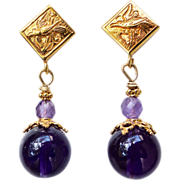 SALE Purple Amethyst Drop Earrings