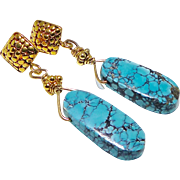 SALE Natural Chinese Turquoise Drop Earrings