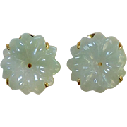 SALE Carved Green Jade Flower Button Earrings