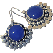 SOLD Vintage Indonesian Silver and Lapis  Drop Earrings