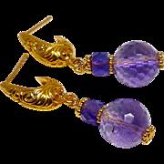 Faceted Purple Amethyst Drop Earrings