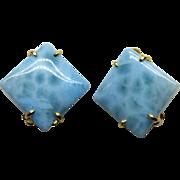 Blue Larimar Button Earrings