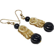 Vintage Carved Bone Owl, Onyx Drop Earrings