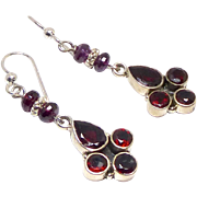 SALE Faceted Garnet, Sterling Silver Drop Earrings