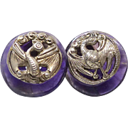 SALE Antique Chinese Pewter Buttons, Amethyst Button Earrings
