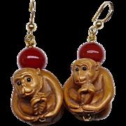 Boxwood Monkeys, Red Tibetan Glass Drop Earrings