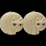 SALE Carved Bone Cat Button Earrings