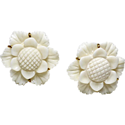 Carved Bone Flower Button Earrings