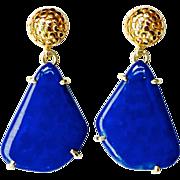Deep Blue Lapis Drop Earrings