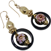 Vintage Chinese Cloisonne and Black Onyx Drop Earrings
