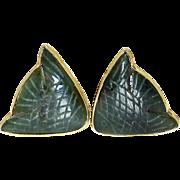 Green Jade Fish Button Earrings