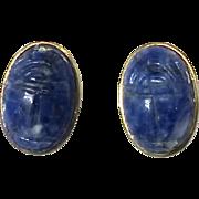 Lapis Scarab, 18k Gold Vermeil Button Earrings