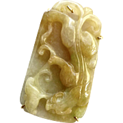 SALE Golden Jade Dragon Pin and Pendant