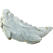 SALE Carved Jade Dragon Pin and Pendant