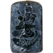 SALE Etched Jade Lucky God and Fish Pin and Pendant