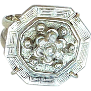 Antique Chinese Silver Button Ring