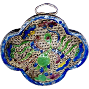 REDUCED Antique 19th Century Chinese Enameled Silver Pendent