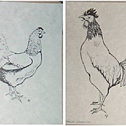 Pen and Ink Drawing-Chicken-Rooster-Art-Black and White Art.