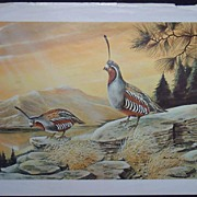 Ruane Manning - Artist -Pair of  Bird Vintage Lithos by Ruane Manning