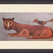 Cat and Bird Lithograph by R. Davey