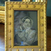 Miniature Engraved Portrait of Lady in Lace Cap