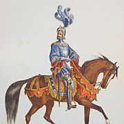 Watercolor Soldiers on Horseback - Vintage Lithographs