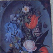 Bugs  Floral Blue Lithograph