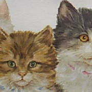 Cat Painting by Lopez Kittens in watercolor by Grace Lopez