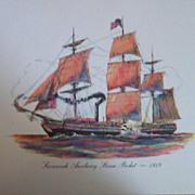 Ship Engraving-Old Ironsides 1797
