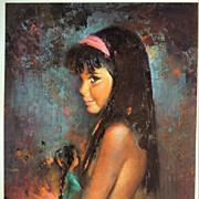 "Vintage Print of Children's Portrait ""Navajo Doll"" by Runci"
