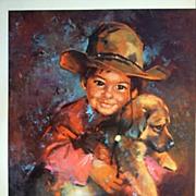 """Vintage Children's Portrait """"Navajo Boy"""" by Runci"""