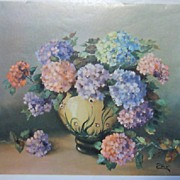 Vintage Floral Lithograph by Zore