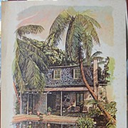 Kennedy Lithograph-Hemingway Studio Watercolor, ink.