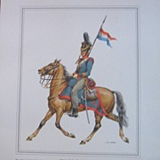 Officer Soldier Kingdom of the Netherlands-Lithograph