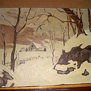 Oil Painting Snow on Barn-Canvas Picture-Art Work