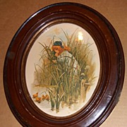 Framed Girl with Duck Lithograph