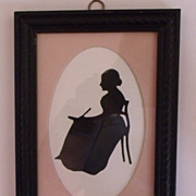 Silhouette Lady at Writing Desk
