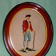 Needle Point Man with Walking Stick in Oval Frame