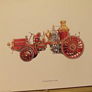 Firetruck Lithographs, Motorized Steamer, Handrawn Pumper, Hose Car,