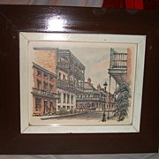 New Orleans Street Scene in Watercolor/ink