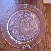 1970 Lalique Plate Peacock Created by Marie-Claude Lalique