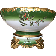 Timeless Limoges Holly Berry Punch Bowl