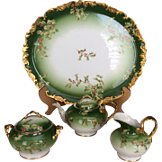 Spectacular, One-Of-A-Kind, T & V Limoges Holly and Berry Tea Set