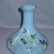 REDUCED Blue Milk Glass Barber Bottle or Decanter