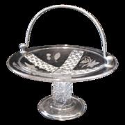 Early American Pattern Glass Handled Cake Basket Ripley #10
