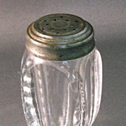 Notched Oval Pattern Glass Salt Shaker