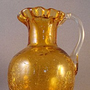 Amber Crackle Glass Pitcher with Ruffled Rim and Applied Handle