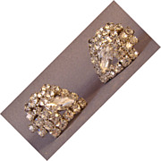Brilliant rhinestone shield shaped earrings with clip backs