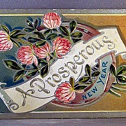 1910 Prosperous New Year  Good Luck with horse shoe.